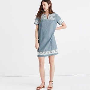 Madewell chambray dress with embroidery